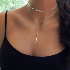 New Simple Women bar coin silver Gold Chain Choker Necklace chocker Jewelry coll