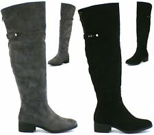 Womens Flats Low Heels Zip Up Faux Leather Ladies Knee High Riding Boots Size