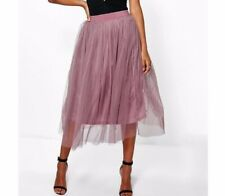 Boohoo Boutique AYA tulle gonna Midi MALVA VIOLA chiffon MESH UK 6 w24-28 ""