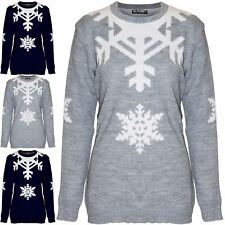 Womens Ladies Christmas Jumper Snowflakes Xmas Pullover Sweater Chunky Knit Top