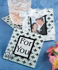 6 X Fleur De Lis Wedding & Party Glass Photo Coasters Favours - Black & White