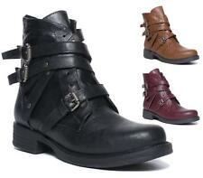 LADIES WOMENS COMBAT MILITARY WORKER PUNK STRAPPY BUCKLE STUDS ZIP ANKLE BOOTS