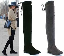 LADIES THIGH HIGH OVER THE KNEE FLAT DRAWSTRING FAUX SUEDE STRETCH BOOTS SIZE 3-