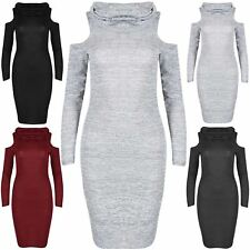 Womens Marl Knitted Midi Dress Ladies Cowl Neck Cold Cut Out Shoulder Bodycon