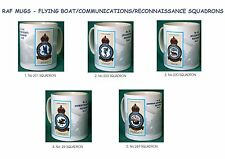 RAF MUGS.RAF VINTAGE BADGE MUGS.FLYING BOAT.COMMUNICATIONS.RECONNAISSANCE SQNS