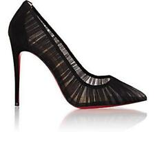 Christian Louboutin Follie Draperia 100 Chiffon Suede Heel Pump Shoes Black $795