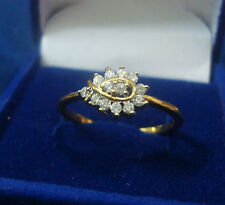 NEW ONE GRAM GOLD PLATED FINGER RING CUBIC ZIRCONIA AMERICAN DIAMOND F275