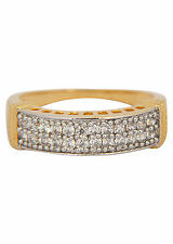 NEW ONE GRAM GOLD PLATED FINGER RING CUBIC ZIRCONIA AMERICAN DIAMOND F440