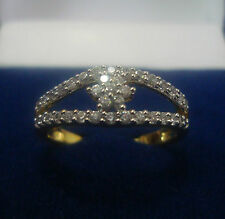 NEW ONE GRAM GOLD PLATED FINGER RING CUBIC ZIRCONIA AMERICAN DIAMOND F458