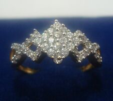 NEW ONE GRAM GOLD PLATED FINGER RING CUBIC ZIRCONIA AMERICAN DIAMOND F449