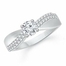 BRAND NEW RHODIUM PLATED FINGER RING CUBIC ZIRCONIA AMERICAN DIAMOND F506