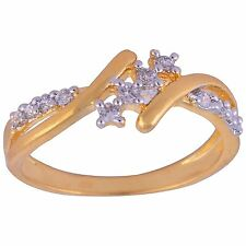 NEW ONE GRAM GOLD PLATED FINGER RING CUBIC ZIRCONIA AMERICAN DIAMOND F452