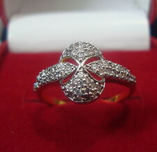 NEW ONE GRAM GOLD PLATED FINGER RING CUBIC ZIRCONIA AMERICAN DIAMOND F387