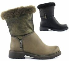 WOMENS FAUX LEATHER FUR LINED ZIP WINTER BIKER PUNK ARMY ANKLE BOOTS SIZE