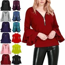 New Womens Ladies V Neck Oversized Zip Up Double Peplum Ruffle Frill Sleeve Top