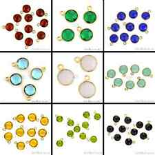 Select Your Gemstone 8mm Round Single Bail Antique Jewelry Connector Gold Plated