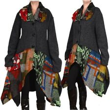 patchwork lana LOOK a strati Cappotto Invernale Trench 44 46 48 50 52L XL XXL