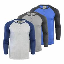Brave Soul Rasmus Mens T Shirt Henley Neck Long Sleeve Casual Top