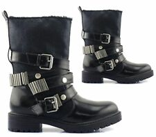 WOMENS LADIES FAUX LEATHER BUCKLE STUDS WINTER FUR LINED ANKLE BOOTS SIZE 3-8 UK