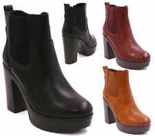 NEW WOMENS LADIES CHUNKY SOLE HIGH HEEL PLATFORM CHELSEA ANKLE BOOTS SHOES SIZE