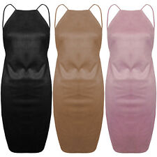 New Faux Suede High Neck Strappy Backless Thigh Split Bodycon Short Party Dress