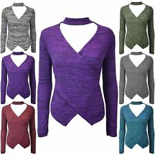 Ladies Womens Choker V Neck Long Sleeve Keyhole Cut Marl Knitted Wrap Over Top