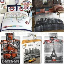 Monde Villes Housse de couette ensembles simple, double, Roi - London New York
