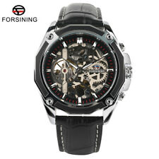 FORSINING Men Outdoor Wrist Watch Automatic Mechanical Skeleton Leather Band Box