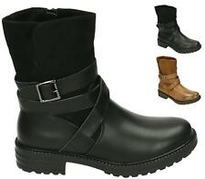 WOMENS BLACK CAMEL FAUX LEATHER ZIP BUCKLE BIKER PUNK ARMY COMBAT ANKLE BOOTS SI
