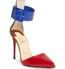 Christian Louboutin HARLER Ankle Cuff D'orsay Heels Sandals Shoes Red Blue $895