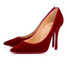 Christian Louboutin DECOLTISH 100 Velvet Pumps Heels Shoes Rosso Red $695