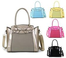 New Womens Ladies Twin Handle Faux Patent Leather Fashion Shoulder Tote Handbag