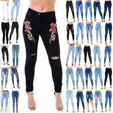 Womens Ladies Rose Embroidered Embellished Knee Cut Out Skinny Fit Denim Jeans