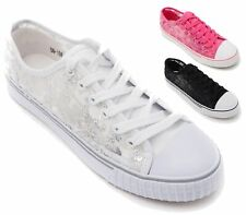 WOMENS TRAINERS PUMPS FLATS LACE UP SKATER SEQUINED MESH CASUAL HOLIDAY SHOES