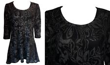 NEW STRETCHY  BLACK GREY FLORAL PLUS SIZE WATERFALL TUNIC TOP SIZE 12-26