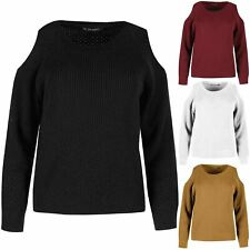Ladies New Round Neck Cold Cut Shoulder Sweater Womens Knit Cable Knitted Jumper