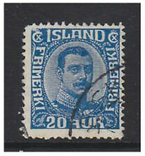 Iceland - 1920, 20a Blue King Christian X stamp - Used - SG 124