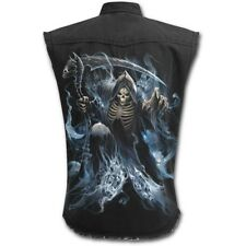(4895) Spiral GHOST REAPER Gothic Worker Shirt Hemd sleeveless stonewashed Kutte