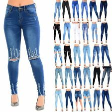 Womens Ladies Whiskers Faded Frayed Hem Rip Stud Destroyed Raw Edge Denim Jeans