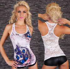 Sexy Women's Tattoo Top Lace Tank Top Tattoo Shirts Vest Strass Free Size