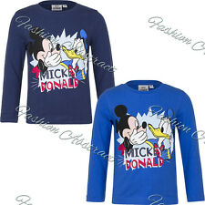Disney Mickey Mouse Kids Long Sleeved Top T-Shirt  Navy Blue 3 - 8
