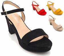 WOMENS LADIES PLATFORM HIGH BLOCK HEEL SLINGBACK BUCKLE STRAP PEEP TOE SANDALS