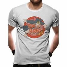 offiziell Herren Tom and Jerry Retro TV Karikaturen Logo weißes T-Shirt -