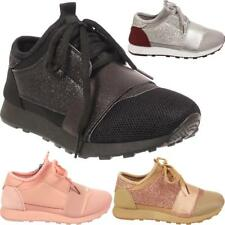 Kids New Glittery Sports Lace Up Flat Girls Children's Running Trainers Shoes UK