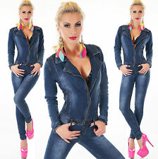 Sexy Denim Jumpsuit Blue Wash Skinny Legs Jeans Overall Long Zip 6-14