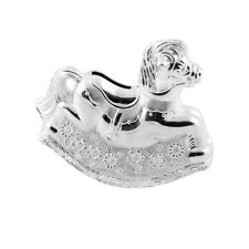 NEW Silver Plated Rocking Horse Money Bank By Bambino Baby Gift Collection