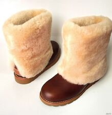 new UGG 'Maylin' brown leather shearling cuff winter BOOTS 5 - really warm