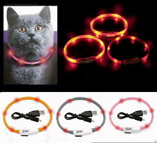 LED Anello COLLARE GATTO PER CANE LUMINOSO Lampeggiante Visio