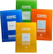 3x Chartwell A4 Student Graph Pad. Isometric, Squared, Variable Grid. 50 Sheets.