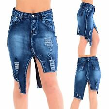 Womens Ladies High Waist Raw Edge Zip Up Pockets Ripped Cut Out Jeans Mini Skirt